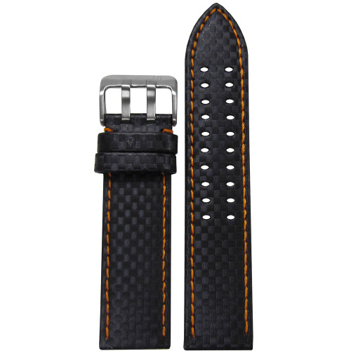 22mm PM Black Carbon Fiber Style Watch Strap with Orange Stitching and Double Tang Buckle | Panatime.com