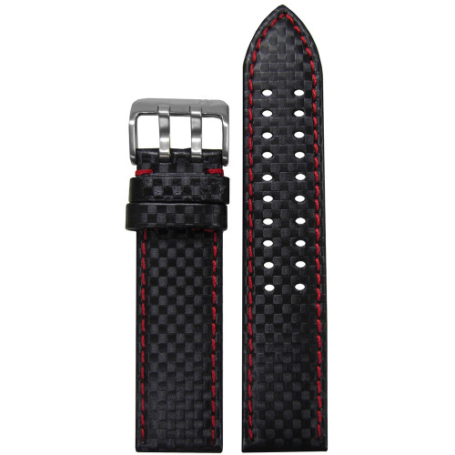18mm PM Black Carbon Fiber Style Watch Strap with Red Stitching and Double Tang Buckle | Panatime.com