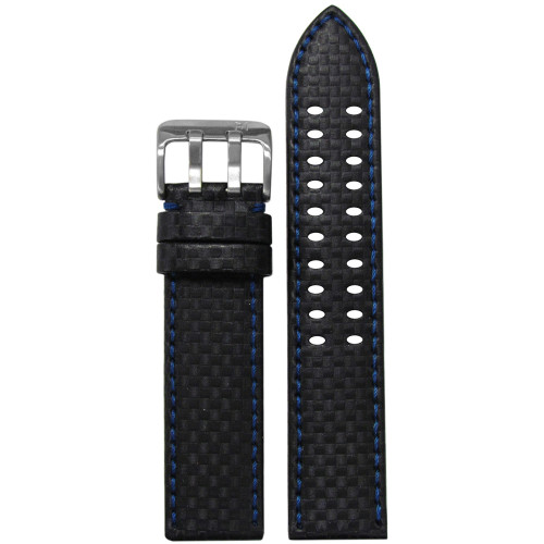 22mm PM Black Carbon Fiber Style Watch Strap with Blue Stitching and  Double Tang Buckle | Panatime.com