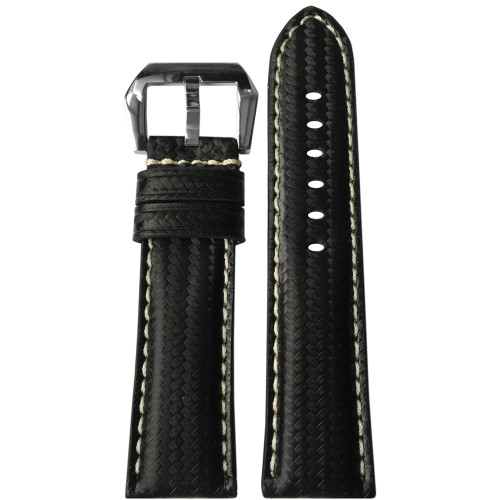 24mm RIOS1931 Black Carbon Fiber Style Watch Strap with White Stitch for Panerai | Panatime.com