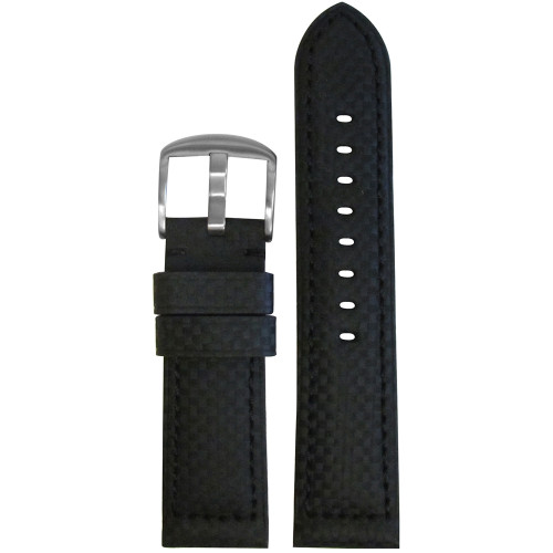 24mm Black Carbon Fiber Style Sport Watch Strap with Black Stitching | Panatime.com