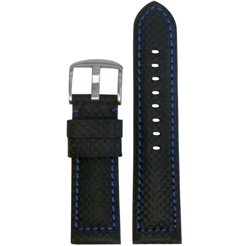 24mm Black Carbon Fiber Style Sport Watch Strap with Blue Stitching | Panatime.com