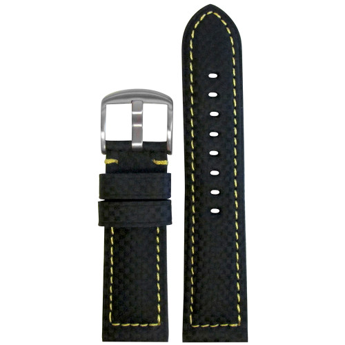 24mm Black Carbon Fiber Style Sport Watch Strap with Yellow Stitching | Panatime.com