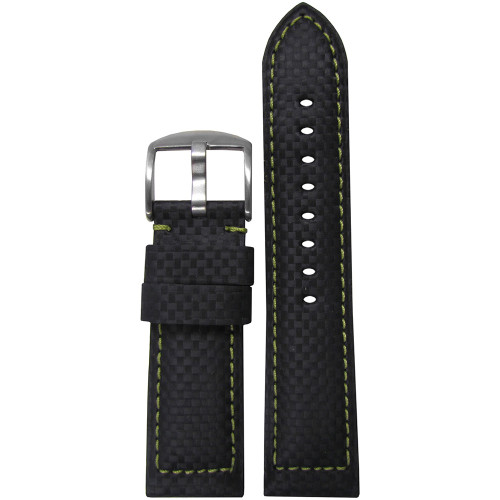 26mm Black Carbon Fiber Style Sport Watch Strap with Green Stitching | Panatime.com