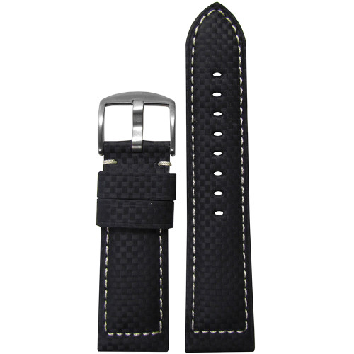 26mm (XL) Black Carbon Fiber Style Sport Watch Strap with White Stitching | Panatime.com