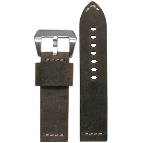 "26mm Brown Genuine Vintage Leather ""Desperado"" Watch Strap with White Stitching 