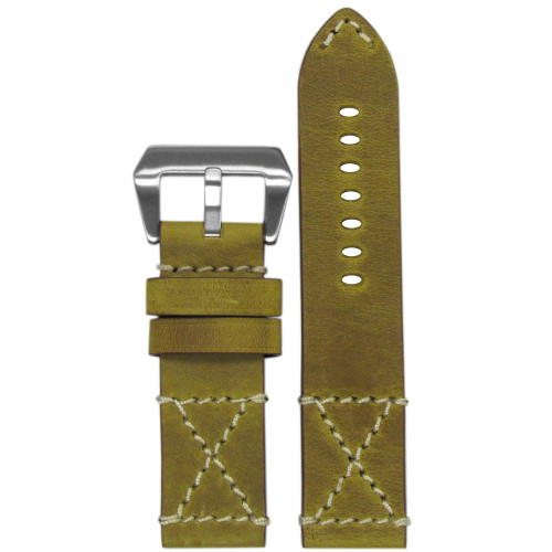 "26mm Golden Genuine Vintage Leather ""Desert Dweller"" Watch Strap with White X-Box Stitching 