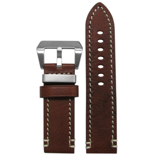 "26mm Brown-Red Genuine Vintage Leather ""Officer"" Watch Strap with White Stitching 