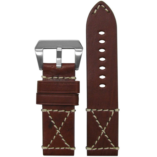 26mm (XL) Red Oak Genuine Vintage Leather Watch Strap with White X-Box Stitching | Panatime.com