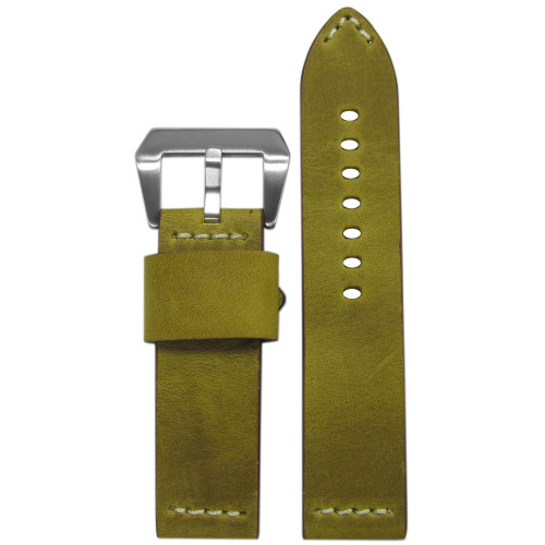 "24mm Golden Genuine Vintage Leather ""Desert Dweller"" Watch Strap with White Stitching | Panatime.com"