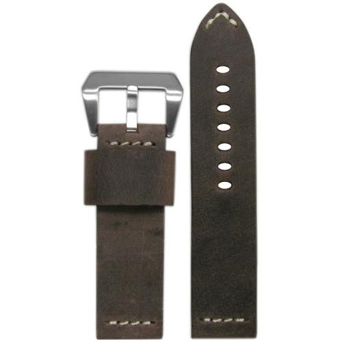 "24mm (XL) Brown Genuine Vintage Leather ""Desperado"" Watch Strap with White Stitching | Panatime.com"