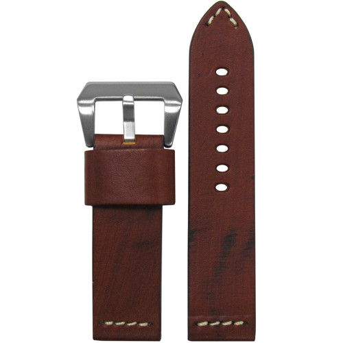 24mm (XL) Red Oak Genuine Vintage Leather Watch Strap with White Stitching   Panatime.com