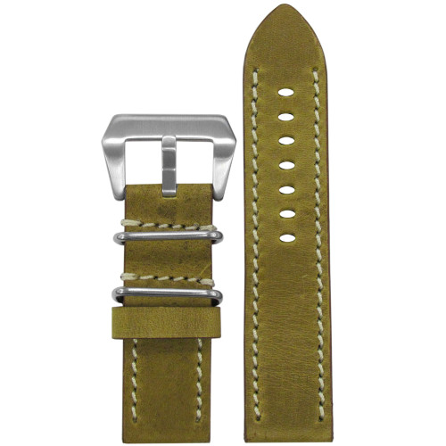"""24mm (XL) Honey Genuine Vintage Leather """"Skytrooper"""" Watch Strap with Off-White Stitching 