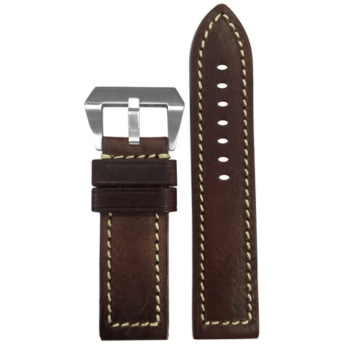 "24mm (XL) Brown Genuine Vintage Leather ""Sheriff"" Watch Strap with White Stitching 