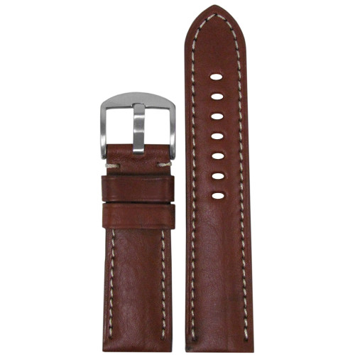 "24mm Brown-Red Genuine Vintage Leather Classic ""Officer"" Watch Strap with Off-White Stitch 
