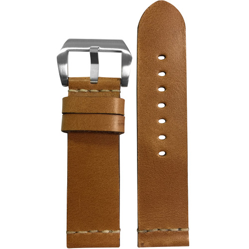 22mm Light Brown Genuine Vintage Leather Watch Strap with White Minimal Stitching | Panatime.com