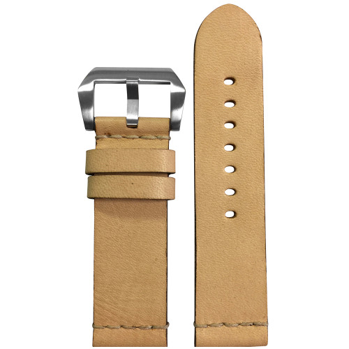 24mm Beige Genuine Vintage Leather Watch Strap with White Minimal Stitch | Panatime.com