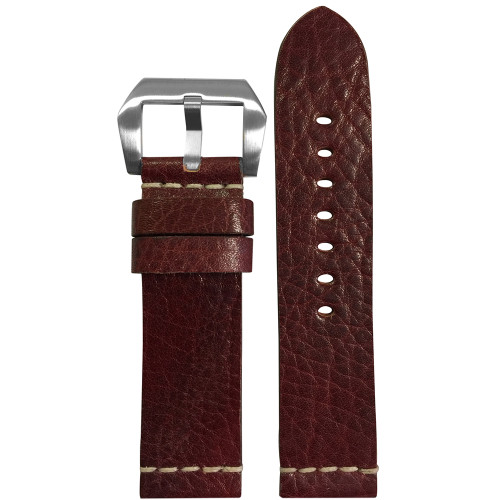 22mm Burgundy Genuine Vintage Leather Watch Strap with White Minimal Stitch | Panatime.com