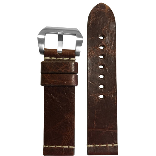 24mm Aged Genuine Vintage Leather Watch Strap with White Minimal Stitch | Panatime.com