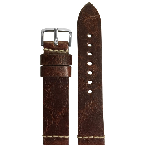 20mm Aged Genuine Vintage Leather Watch Strap with White Minimal Stitch | Panatime.com