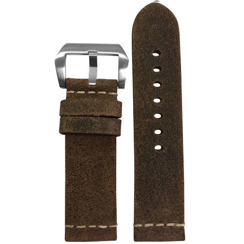 22mm (XL) Rough Brown Genuine Vintage Leather Watch Strap with White Minimal Stitching | Panatime.com