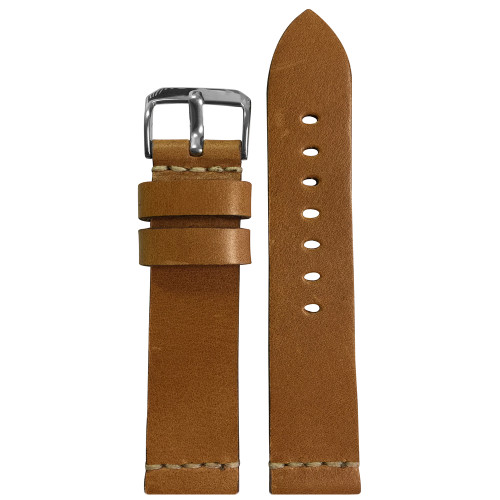 20mm (XL) Light Brown Genuine Vintage Leather Watch Strap with White Minimal Stitching | Panatime.com