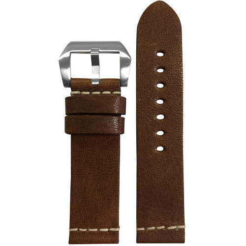 22mm (XL) Classic Brown Genuine Vintage Leather Watch Strap with White Minimal Stitch | Panatime.com