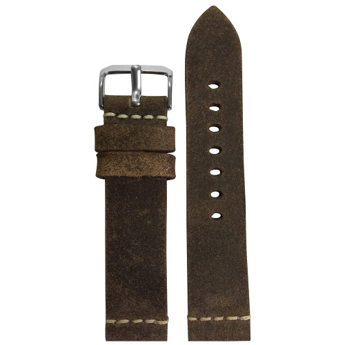 20mm (XL) Rough Brown Genuine Vintage Leather Watch Strap with White Minimal Stitching | Panatime.com