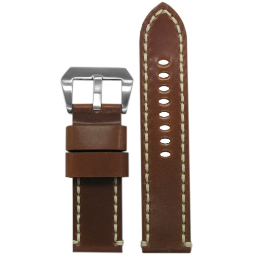 20mm Whiskey Genuine Horween Shell Cordovan Leather Watch Strap with Off-White Stitching | Panatime.com