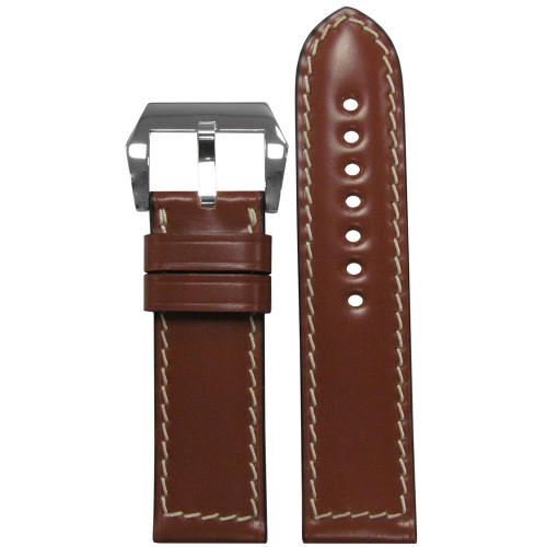 24mm Cognac Genuine Shell Cordovan Vintage Leather Watch Strap with White Stitching | Panatime.com