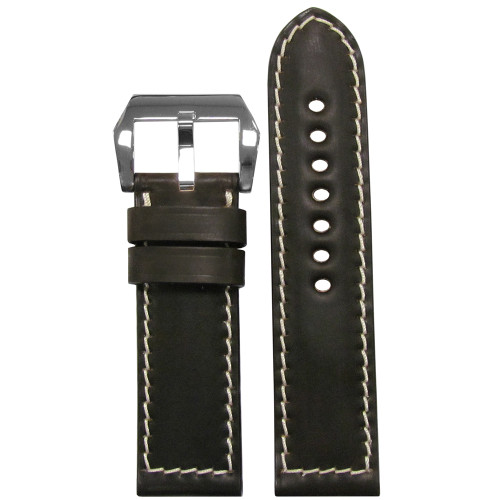 24mm Mocha Genuine Shell Cordovan Vintage Leather Watch Strap with White Stitching | Panatime.com