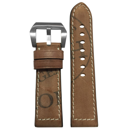 24x22 Sand Genuine Vintage Leather Limited Edition Horween Stamping Watch Strap - Made in USA | Panatime.com
