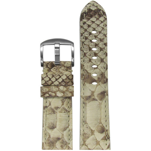 24mm (XL) Bone Genuine Java Rock Python Skin Padded Watch Strap with Match Stitching | Panatime.com
