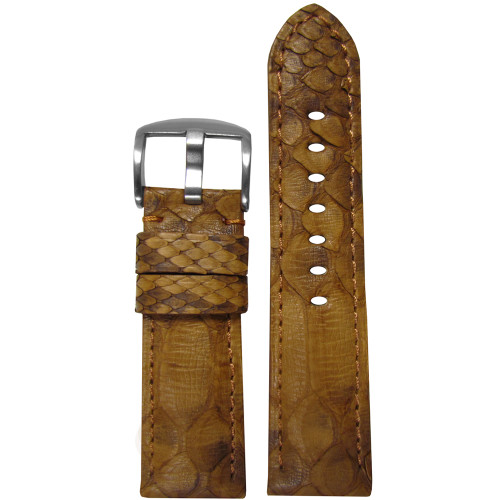 24mm (XL) Gold Genuine Java Rock Python Skin, Padded Watch Strap with Match Stitching | Panatime.com