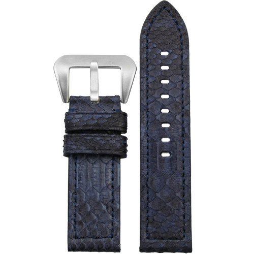 20mm Navy Vintage Genuine Python Watch Strap with Match Stitching | Panatime.com