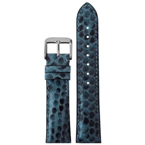16mm Hadley Roma LS2020 Ladies Blue Genuine Python Skin Watch Strap with Match Stitching | Panatime.com