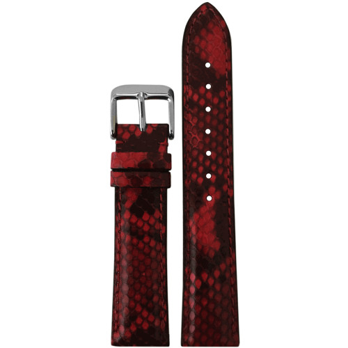 16mm LS2020  Hadley Roma Ladies Red Genuine Python Skin Watch Strap with Match Stitching | Panatime.com