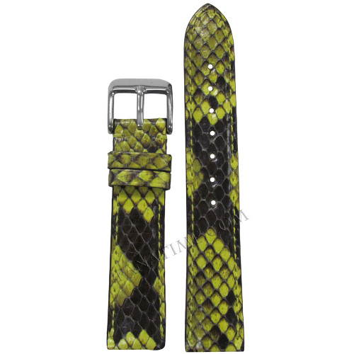16mm Hadley Roma LS2020 Ladies Lime Genuine Python Skin Watch Strap with Match Stitching | Panatime.com