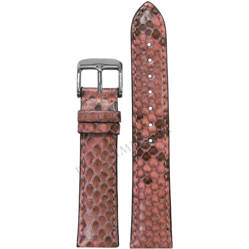 16mm Hadley Roma LS2020 Ladies Pink Genuine Python Skin Watch Strap with Match Stitching | Panatime.com