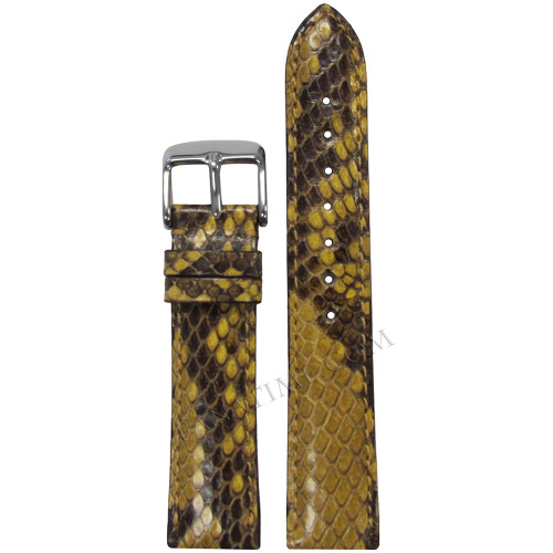16mm Hadley Roma LS2020 Ladies Yellow Genuine Python Skin Watch Strap with Match Stitching | Panatime.com