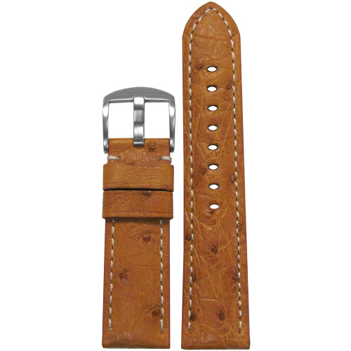26mm Natural Genuine Ostrich Watch Strap with White Stitching | Panatime.com