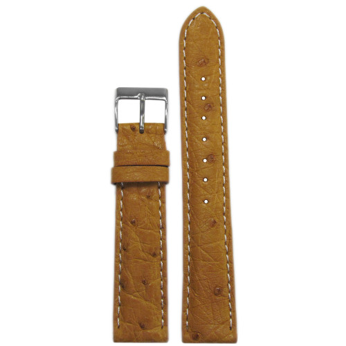 18mm Natural Genuine Ostrich Watch Strap with White Stitching | Panatime.com