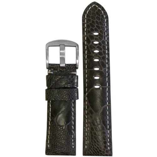 20mm Brown Matte Genuine Ostrich Leg Watch Strap with White Stitching | Panatime.com