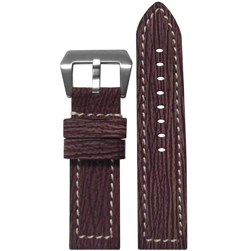 24mm Bordeaux Nubuk Genuine Shark Skin Watch Strap with White Stitching | Panatime.com