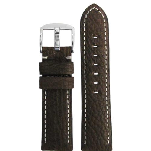 24mm (XL) Dark Brown Genuine American Shark Skin Watch Strap with White Stitching | Panatime.com