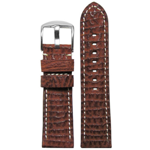 24mm (XL) Tan Genuine American Shark Skin Watch Strap with White Stitching | Panatime.com