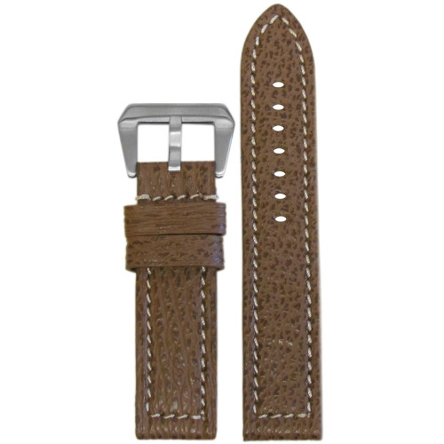 24mm (XL) Honey Vintage Genuine Shark Skin Watch Strap with White Stitching   Panatime.com