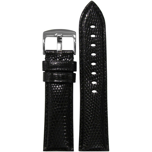 20mm Black Semi-Gloss Genuine Lizard Watch Strap with Match Stitching | Panatime.com