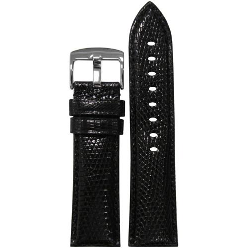 22mm (XL) Black Semi-Gloss Genuine Lizard Watch Strap with Match Stitching   Panatime.com