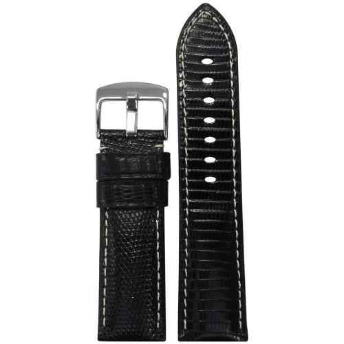 24mm (XL) Black Semi-Gloss Genuine Lizard Watch Strap with White Stitching   Panatime.com